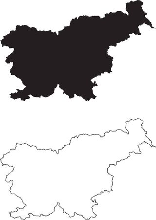 Slovenia Map. Black silhouette country map isolated on white background. Black outline on white background. Vector based