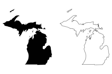 Michigan MI state Maps. Black silhouette and outline isolated on a white background. 向量圖像