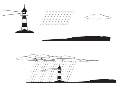Lighthouse along shore with clouds and rain. Black and white pictogram icons isolated on a white background.