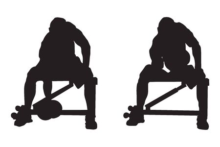 Silhouette depicting man doing seated Concentrated Bicep Curls on a bench isolated on a white background.
