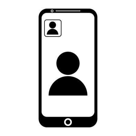 Video Call on Phone. Black Illustration Icon Pictogram.