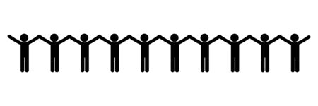 People Group Holding Hands Chain Stick Figure.  イラスト・ベクター素材