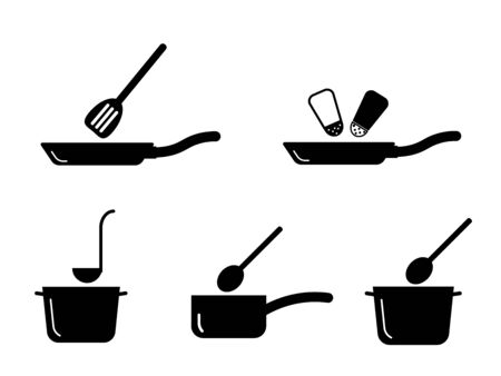 Cooking Kitchen Pot Pan Utensil Set. Depicting various cooking pot and pans found in kitchen. Ilustrace
