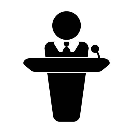 Person giving speech announcement behind podium. Simple black and white stick figure illustration Vectores