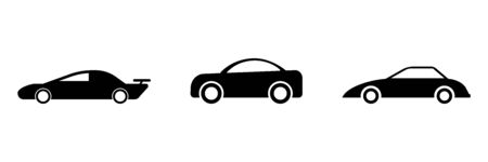 Car Side View Set. Three black and white illustration depicting cars side view. EPS Vector