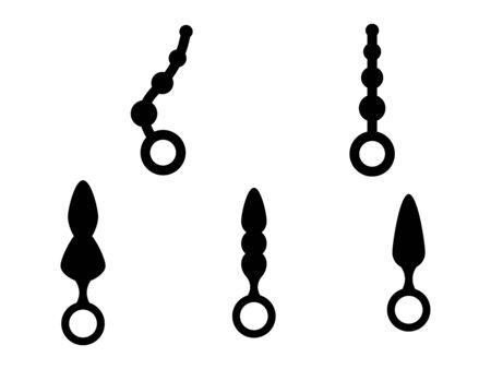 Adult Anal Sex Toys Set. Various anus butt plug. Иллюстрация