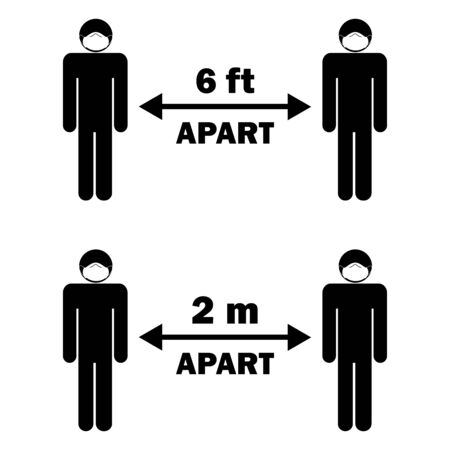 Social Distancing six 6 feet two 2 m apart. Stick figure with face mask.