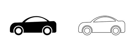 Car Side View outline Set. Two black and white illustration depicting cars side view. Expanded outline EPS Vector