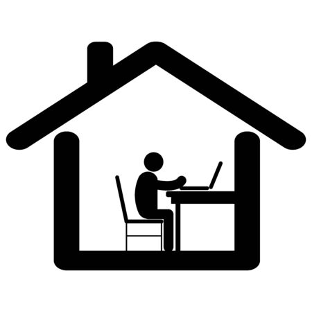 Working from home. Pictogram depicting man working at home due to lockdown Covid-19.