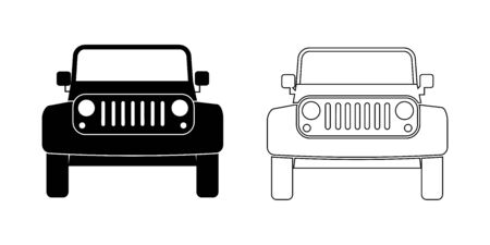 SUV Car Front view Outline set. A set of two sports utility vehicle frontal view. Illustration
