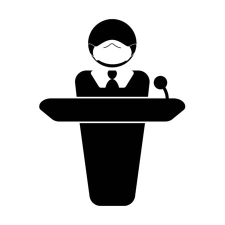 Person with mask giving speech announcement behind podium. Simple black and white stick figure illustration Ilustrace