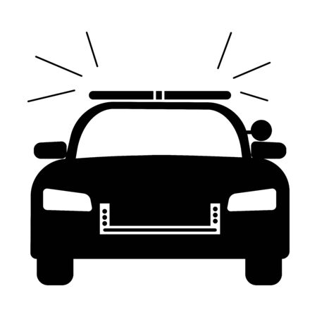 Police Cop Car with siren front view. Simple black and white illustration depicting police emergency response vehicle car with flash. EPS Vector Illustration