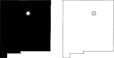 New Mexico NM state Map USA with Capital City Star at Santa Fe. Black silhouette and outline isolated on a white background. EPS Vector