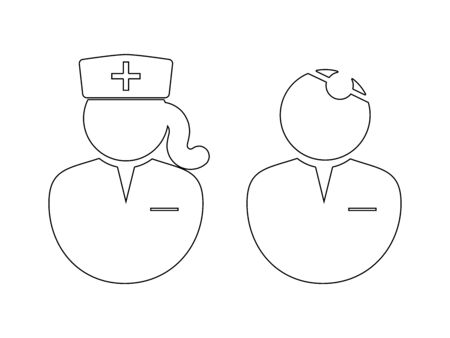 Doctor and Nurse Outline Icon. Black and white outline illustration pictogram icon depicting doctor and female nurse. Vector