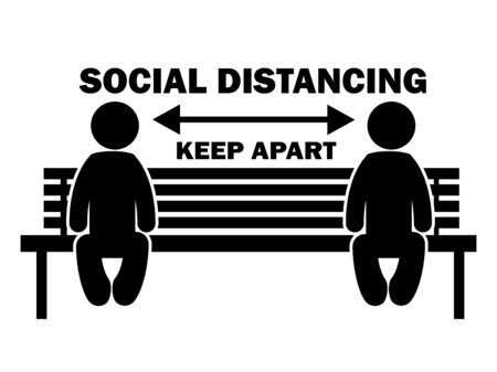 Social Distancing Keep Apart Stick Figure on Bench. Illustration arrow depicting social distancing guidelines and rules during covid-19. Vector Stock Illustratie