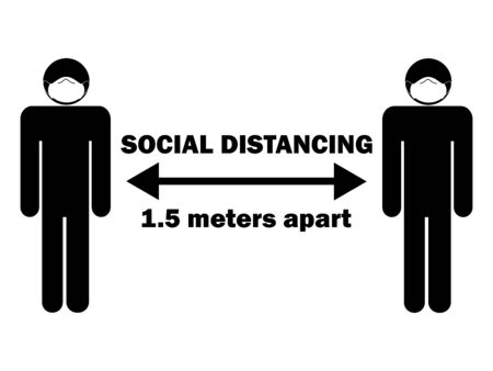 Social Distancing 1.5 Meters Apart Stick Figure with Mask. Illustration arrow depicting social distancing guidelines and rules during covid-19. Vector