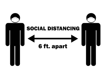 Social Distancing 6 ft. Apart Stick Figure with Mask. Illustration arrow depicting social distancing guidelines and rules during covid-19. Vector