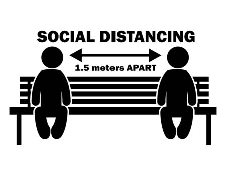 Social Distance 1.5 Meter Apart Stick Figure on Bench. Illustration arrow depicting social distancing guidelines and rules during covid-19. Vector