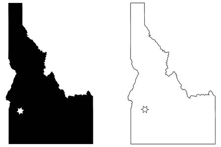 Idaho ID state Map USA with Capital City Star at Boise. Black silhouette and outline isolated on a white background. Vector Illusztráció