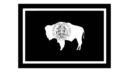 Wyoming WY State Flag. United States of America. Black and white EPS Vector File.