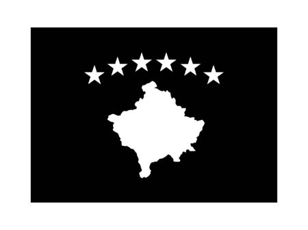 Kosovo Flag Black and White. Country National Emblem Banner. Monochrome Grayscale EPS Vector File.