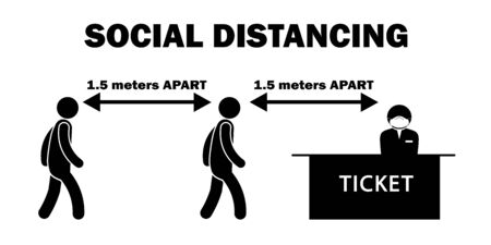 Social Distancing 1.5 meters m Apart Stick Figure at Ticket Counter Line Queue with Mask. Black and White Vector File