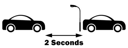 2 Seconds rule between car. Do not tailgate. Safe distance between cars. Black and white EPS vector