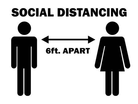 Social Distancing 6 ft. Apart Man Woman Stick Figure. Pictogram Illustration Depicting Social Distancing during Pandemic Covid19. Vector File