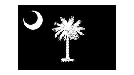 South Carolina SC State Flag. United States of America. Black and white EPS Vector File.