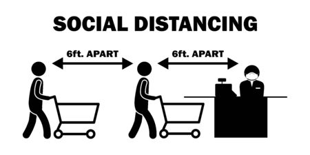 Social Distancing 6ft Apart Cashier Stick Figure. Black and white pictogram depicting six feet apart while lining queuing up to pay at cashier checkout counter. Vector File