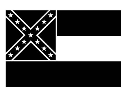 Mississippi MS State Flag. United States of America. Black and white EPS Vector File.