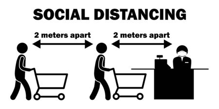 Social Distancing 2 Meters Apart Cashier line Stick Figure. Black and white pictogram depicting two meters apart while lining queuing up to pay at cashier. Vector File