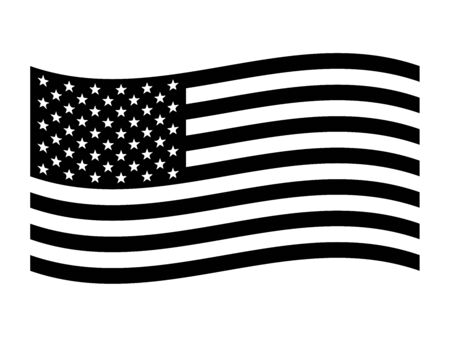 The American flag, The Stars and Stripes Red, White, and Blue Old Glory The Star-Spangled Banner United States (U.S.) flag. Black and white EPS Vector