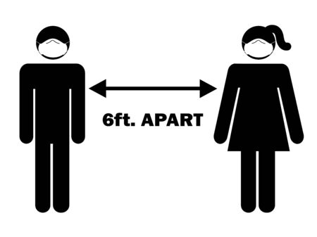 6 ft. Apart Man Woman Stick Figure with facial mask. Pictogram Illustration Depicting Social Distancing during Pandemic Covid19 with PPE Face Covering. Vector File