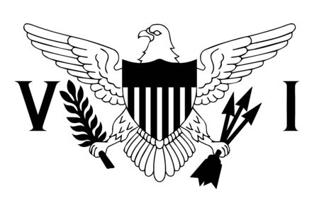 Flag of Virgin Islands of the United States. Black and white EPS Vector File.
