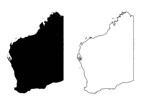 Map of Western Australia. Black and outline maps.