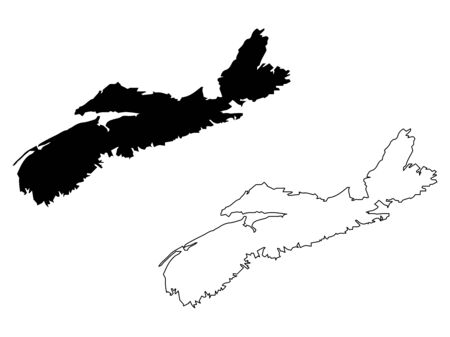 Nova Scotia Province and Territory of Canada. Black Illustration and Outline. Isolated on a White Background.