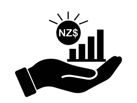 Hand Out NZD New Zealand Dollar Growth Bar Chat. Black Illustration Isolated on a White Background.