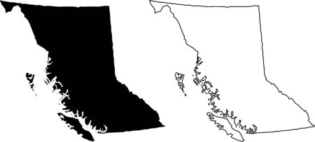 British Columbia BC Province and Territory of Canada. Black Illustration and Outline. Isolated on a White Background.
