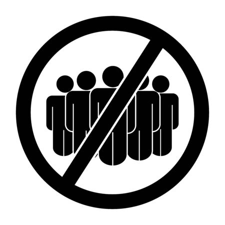 No Mass Gathering Sign. Social Distancing From People Crowd Rule During COVID-19 Pandemic. Black Illustration Isolated on a White Background.