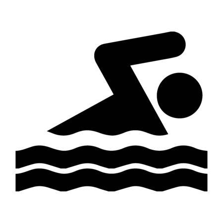 Stick Figure Swimming Front Crawl Freestyle Icon. Black and white illustration.