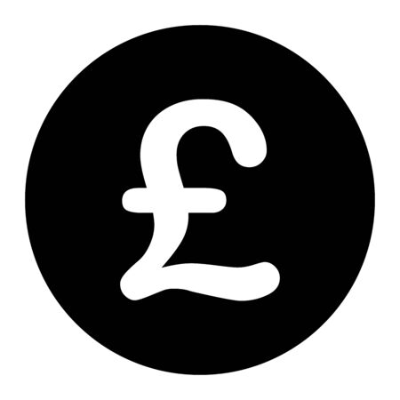 GBP Great Britain Pound Sterling Symbol. Black Illustration Isolated on a White Background.