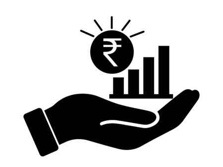 Palm Out INR Indian Rupee Growth Bar Chart. Black Illustration Isolated on a White Background.