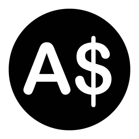 AUD Australian Dollar Currency Symbol. Black Illustration Isolated on a White Background.