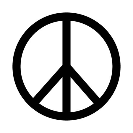 Peace Sign Logo icon. Black and white illustration. Logo
