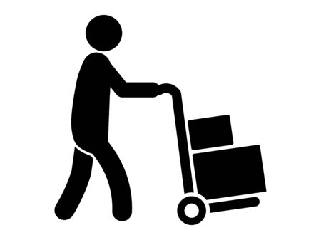 Delivery Person Stick Figure Pushing a Loaded Cart with Two Boxes. Black Illustration Isolated on a White Background.