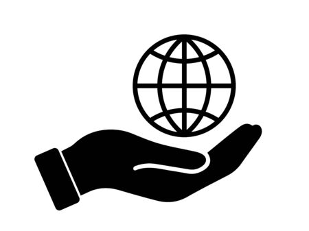 Palm Out Hand Holding Wire Globe Earth World Planet 3D Frame.Black Illustration Isolated on a White Background. Foto de archivo - 150277259