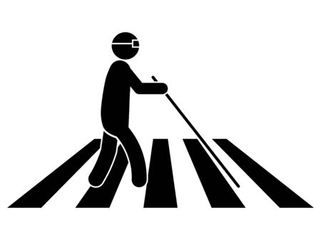 Blind Person on Crosswalk with White Cane Stick and Glasses. Black Illustration Isolated on a White Background. Vettoriali