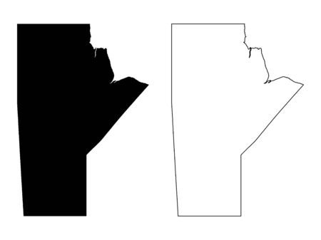 Manitoba Province and Territory of Canada. Black Illustration and Outline. Isolated on a White Background.