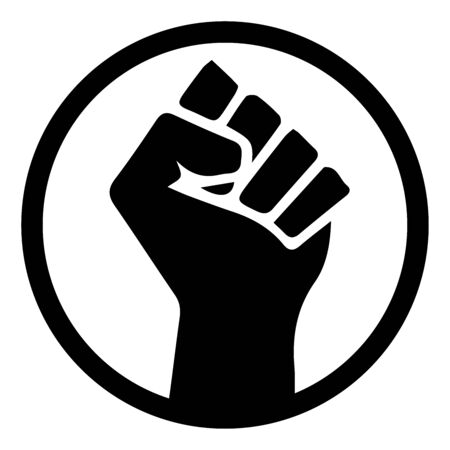 Black Lives Matter. Black and white illustration depicting BLM Fist in Circle.